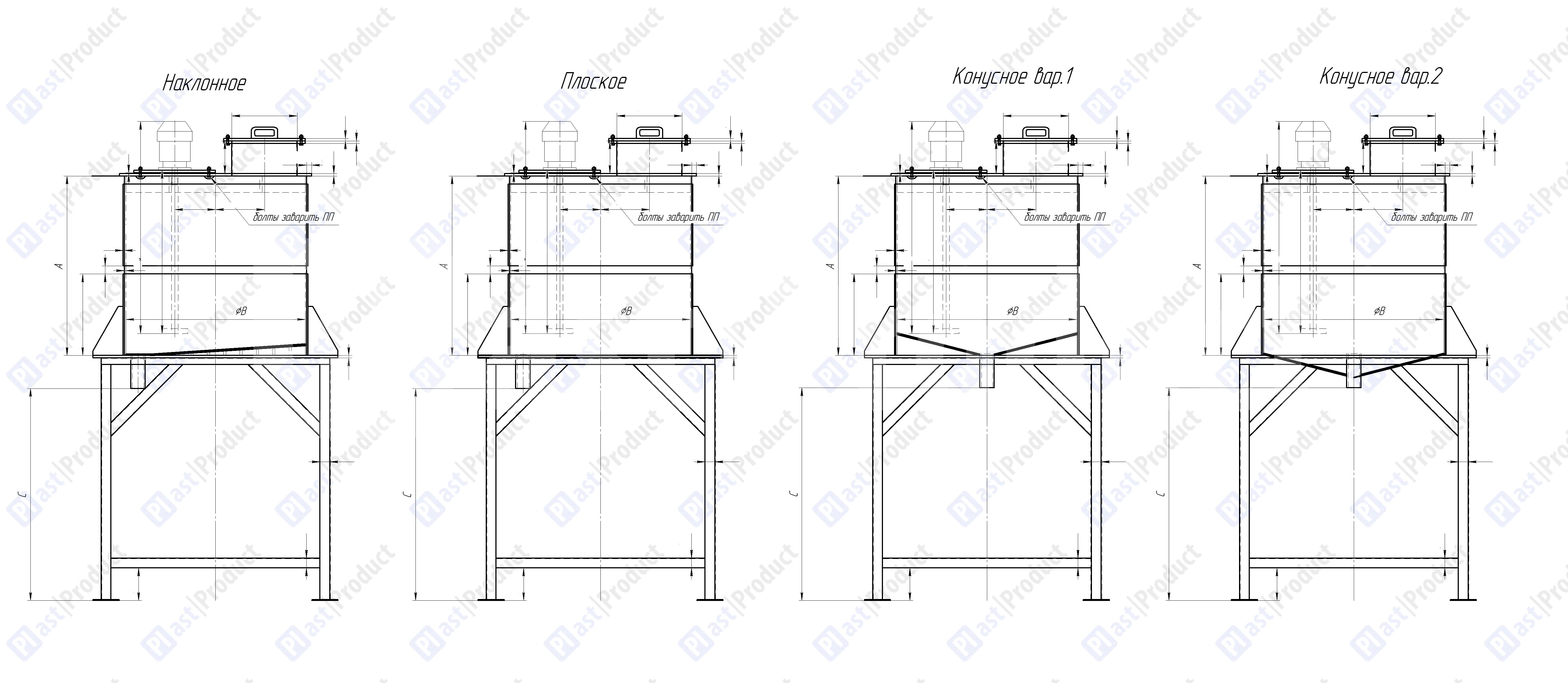 Варианты исполнения емкости с перемешивающим устройством на подставке