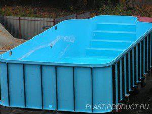 Установка бассейна из пластика, чаша из полипропилена