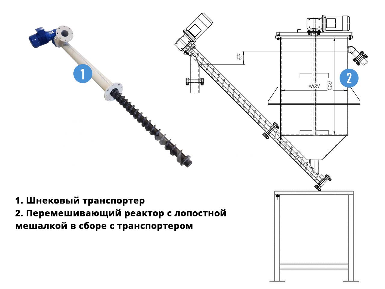 Перемешивающий реактор в сборе со шнековым транспортером